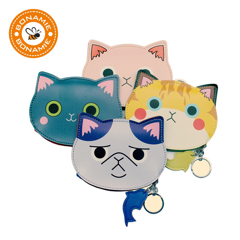 BONAMIE New Cute Cartoon Cat Women Cosmetic Kids Coin Purse Wallet Storage Bag Personality 3D Small Cat Head Storage Bags