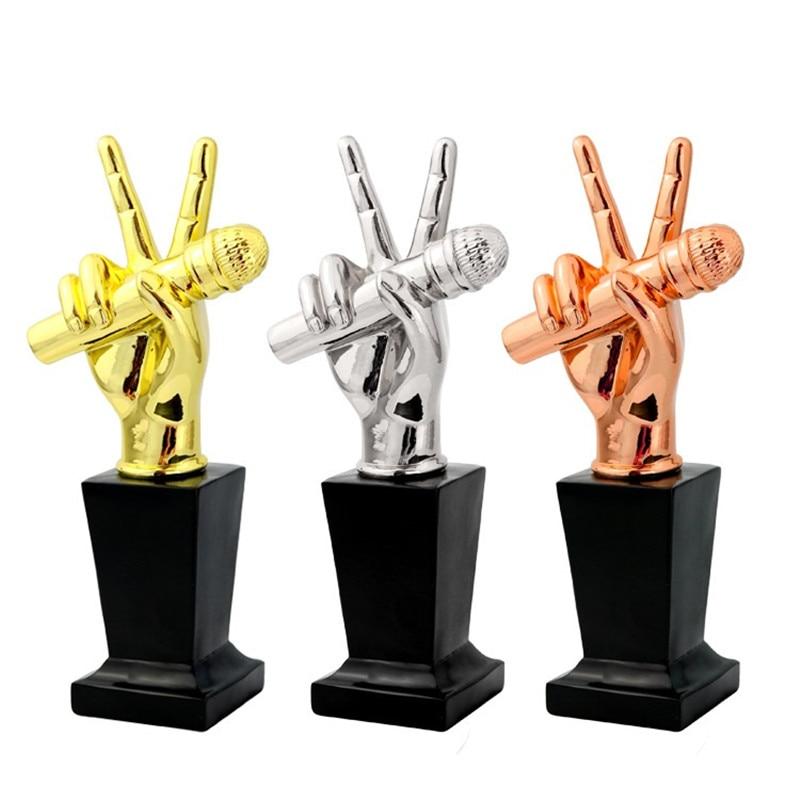 Variété spectacle la voix des USA Fans de musique trophée Microphone cristal trophées Champions prix coupe trophée Souvenir R1682
