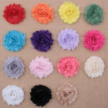 50pcs/lot 15colors Fashion Chic Shabby Chiffon Flowers For Baby Hair Accessories 3D Frayed Fabric Headbands