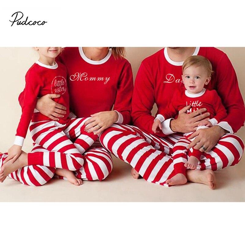2fa8dab8e0 2017 pudcoco Newest Arrivals Hot Christmas Family Kids Adult Pajamas Set  Striped Sleepwear Nightwear Adorable Matching Outfits