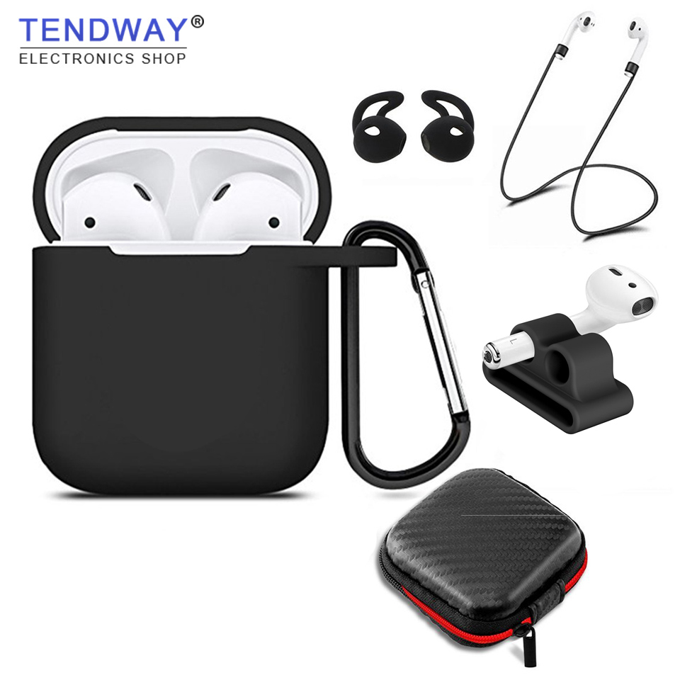 Tendway 5 pcs/set Silicone Case for Apple AirPods Accessories for Apple Earphones Silicone Strap Cover Tip Hook for Airpods