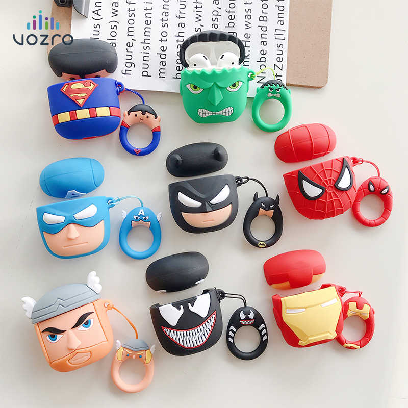 VOZRO The Avengers Wireless Bluetooth Earphone Case For Apple AirPods Silicone Headphones Cases For Airpods 2 Protective Cover