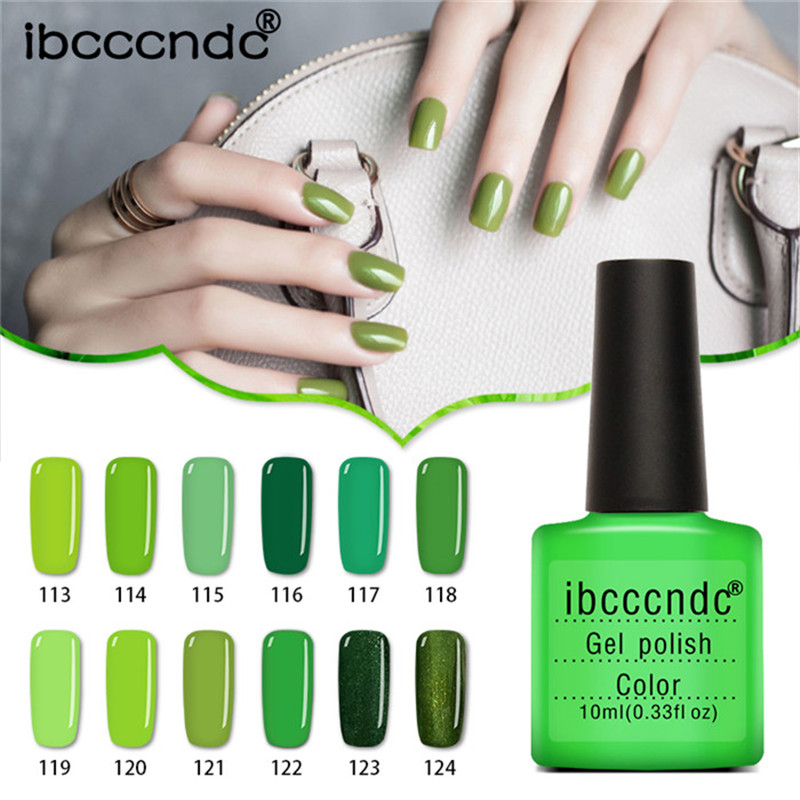 купить 12pcs/lot Green Series UV Gel Nail Polish LED Lamp Gel Lacquer Gel Polish Vernis Semi Permanent Gel Varnish Nail Primer Base Top онлайн