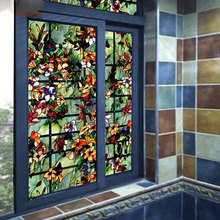 45*200cm stained Window Privacy Film Opaque flower Decorative film Glass Film Static bathroom Home Decor Glass Window Stickers цена
