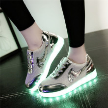 Hot Sale new arrived Women LED Shoes for Adults White Red Glowing Light Up Flat Shoes Luminous Recharging women led shSize 35-40