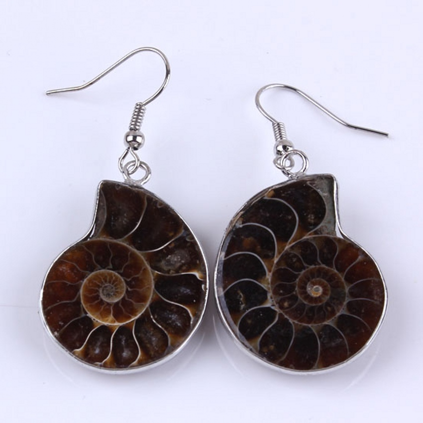 Trendy-beads Unique Silver Plated Natural Ammonite Reliquiae Drop Earrings For Women Fashion Jewelry