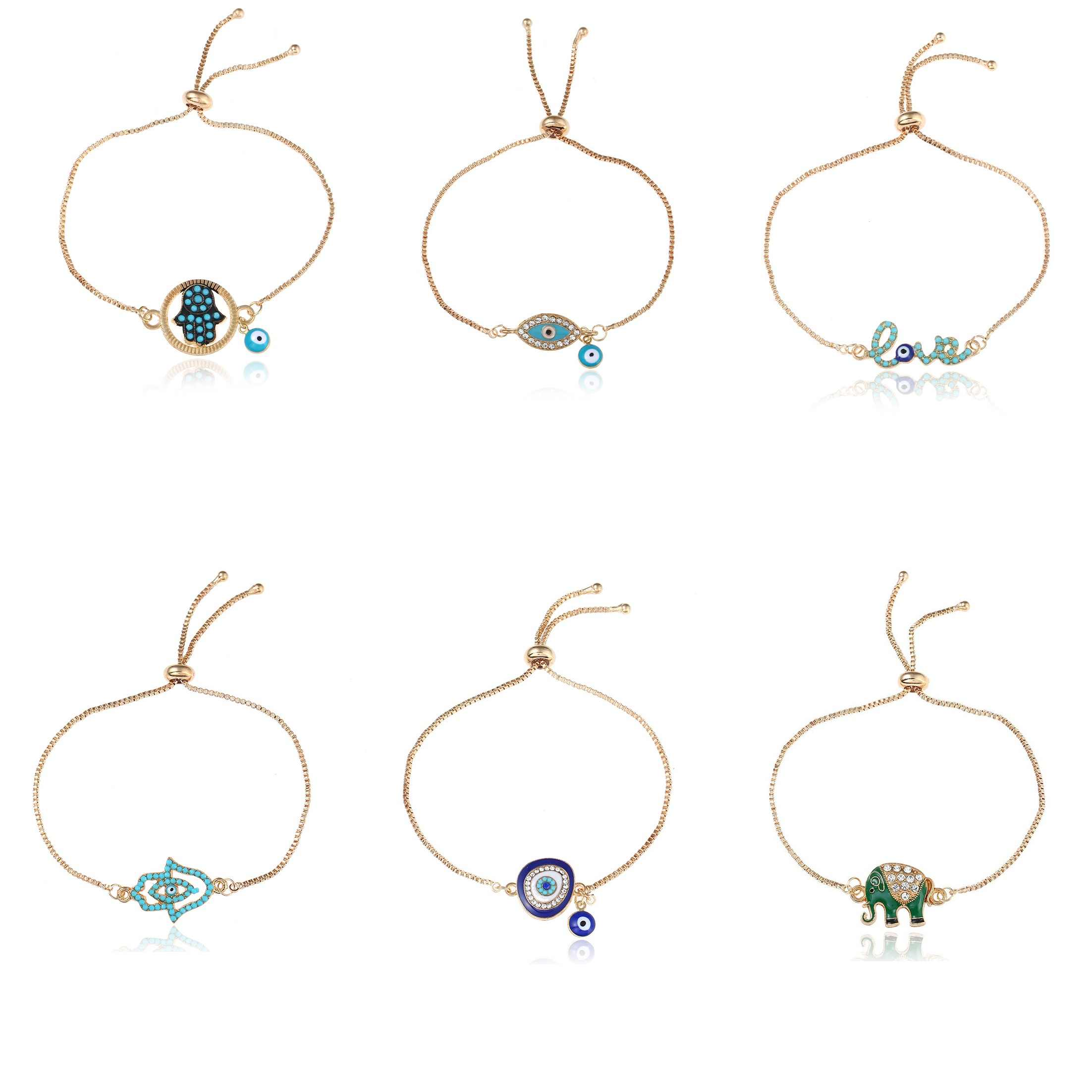 2018 Good Luck Hamsa hand Charm Blue Evil Eye Bracelet Jewelry Turkey Fatima Hand Handmade Gold Color Chain for woman gift