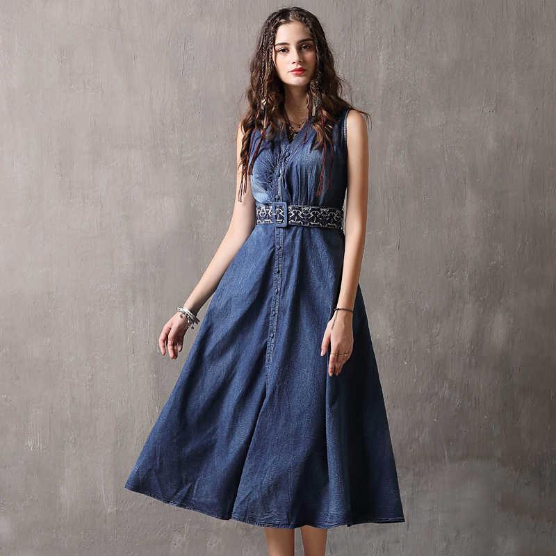 cc5e1c7d852 Высокое качество летнее джинсовое платье с вышивкой костюмы плюс размеры  для женщин Элегантный Весна Тонкий Ковбой