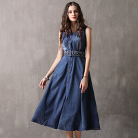 High Quality Summer Denim Embroidery Dress Clothing Plus Size Women Elegant Spring Slim Cowboy Casual Jeans Dresses Vestidos