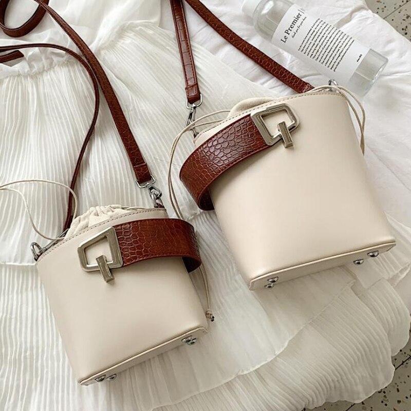 Female Stone Pattern Tote Bucket Bag 2019 New Quality PU Leather Women's Designer Handbag Lock Shoulder Messenger Bag