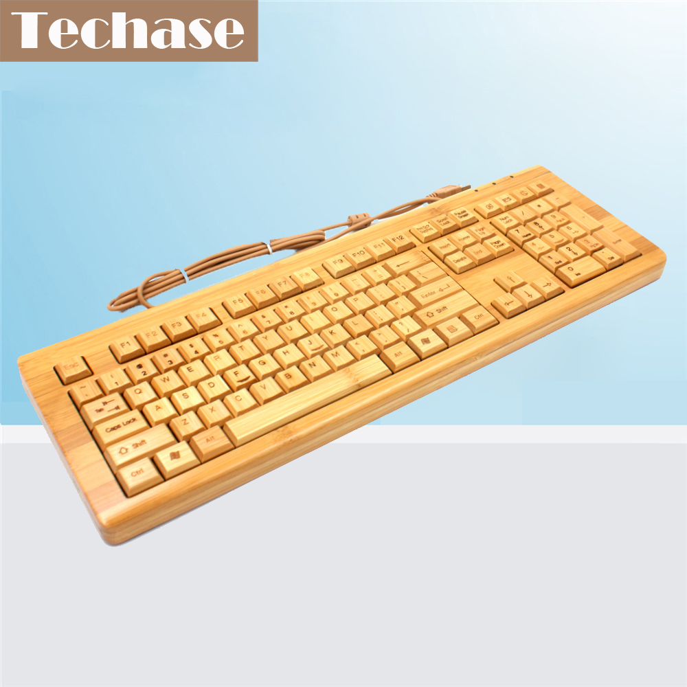 Techase Standard Keyboard Gaming KU308 Bamboo Membrane Keyboard Multifunctional Wood Toetsenbord Mekanik Klavye Teclado Gamer metal key chains rings holder for car keyrings keychains for man high quality gift for bmw audi volkswagen ford honda cy741 cn