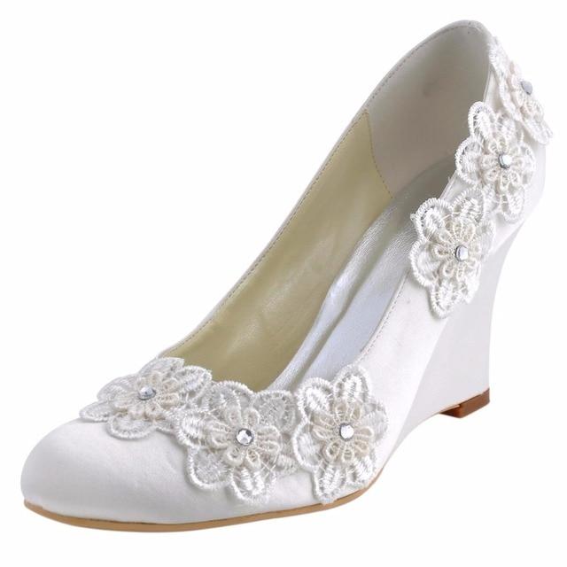 2016 Woman Wedges Shoes WP1416 Ivory Size 6  EU 37 Closed Toe High Heel  Wedding e33265bebbe3
