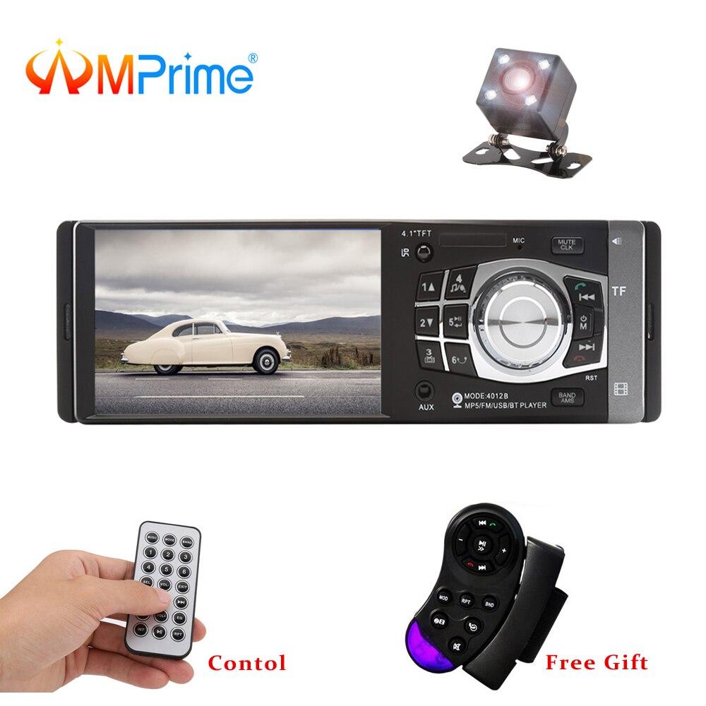 AMPrime 4012B 4 pouces 1 Din autoradio Auto Audio stéréo FM Bluetooth Support caméra de recul USB volant télécommande
