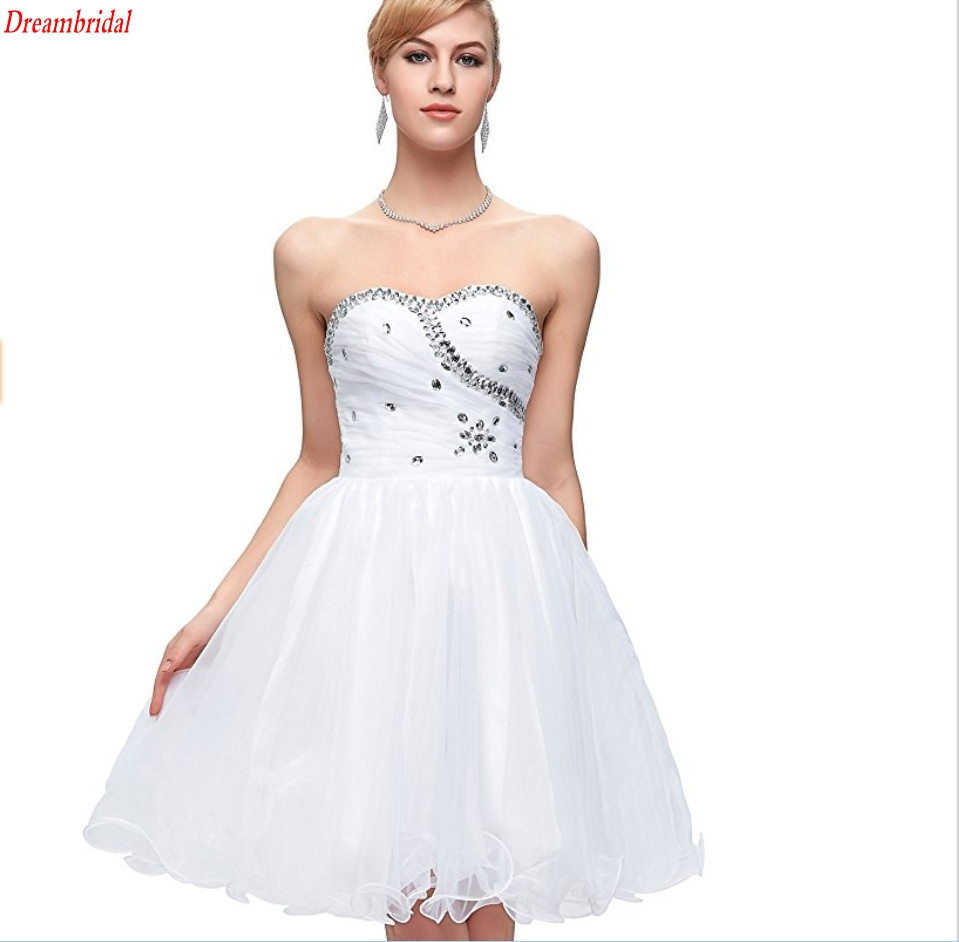 White dress cocktail party - Dreambridal Sell White Cocktail Dresses Masquerade Prom Ball Gown Special Occasion Cocktail Party Dresses Girls Homecoming