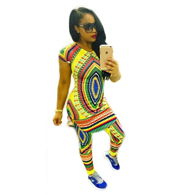 Лето в Стиле Традиционных Африканских Одежды Топы + Брюки Из Двух Частей Набор Женщины Африканская Dashiki Отпечатано Bodycon Платье Африканские Одежды