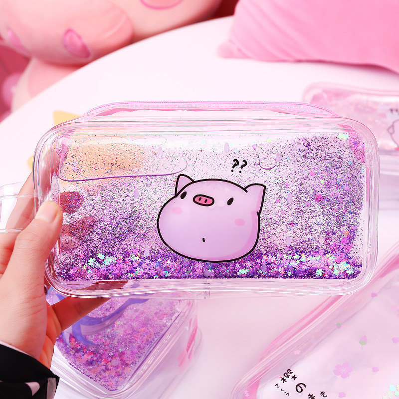 Korean Cute PVC Pig Pencil Case Colorful Transparent Quicksand Girls Pen Bag Stationery School Supply Pouch Cosmetic Bag