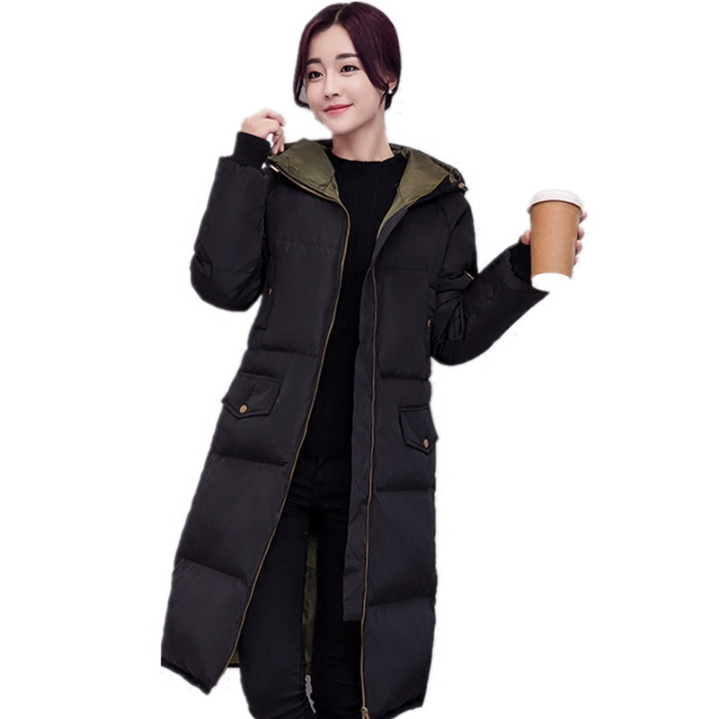 Fashion Winter Jacket Women Coat Warm   Parka   Long Sleeve Plus Size Jacket Outerwear Hooded Thicken Long Ladies Jacket Coat Q583