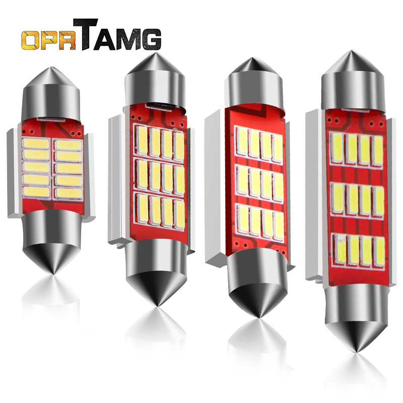1x Festoon LED 31/36/39/41mm Dome Light 10 12SMD 4014 SMD CANBUS Error Free Car Interior Bulb c5w License Plate Lamp Car Styling 10x festoon canbus 31 36 39 41mm c5w error free 5630 6 led smd interior white ice blue led dome light smd roof bulbs