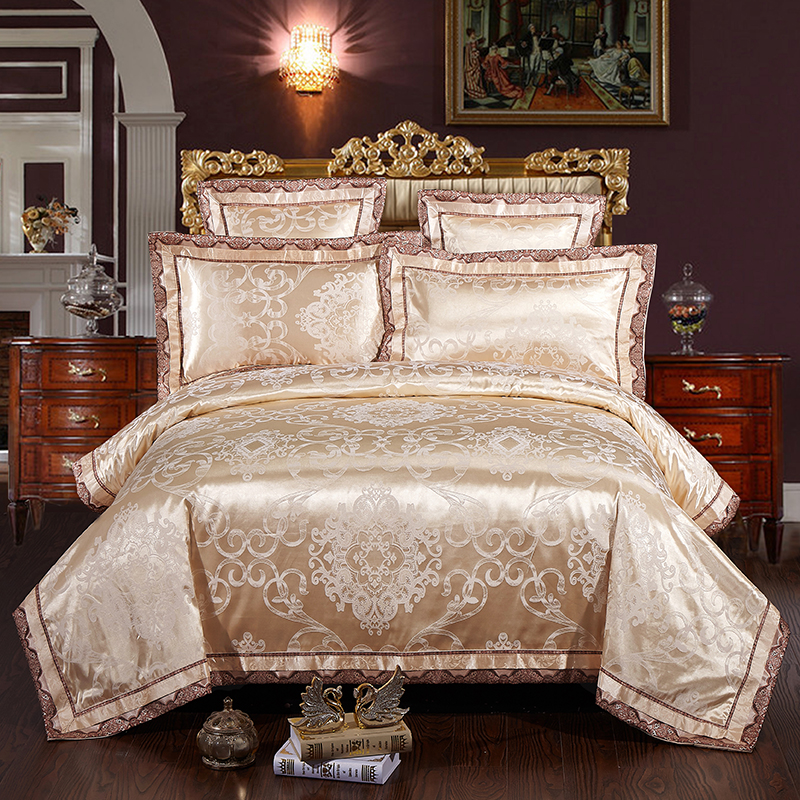 Gris plata oro color algodón de satén de lujo juego de cama adultos ...