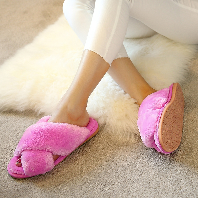 Fall, Winter, Lovely Indoor Confinement Shoes, Home, Cotton Mop, Female Floor, Plush, Cross Section, Slippers, Women ...