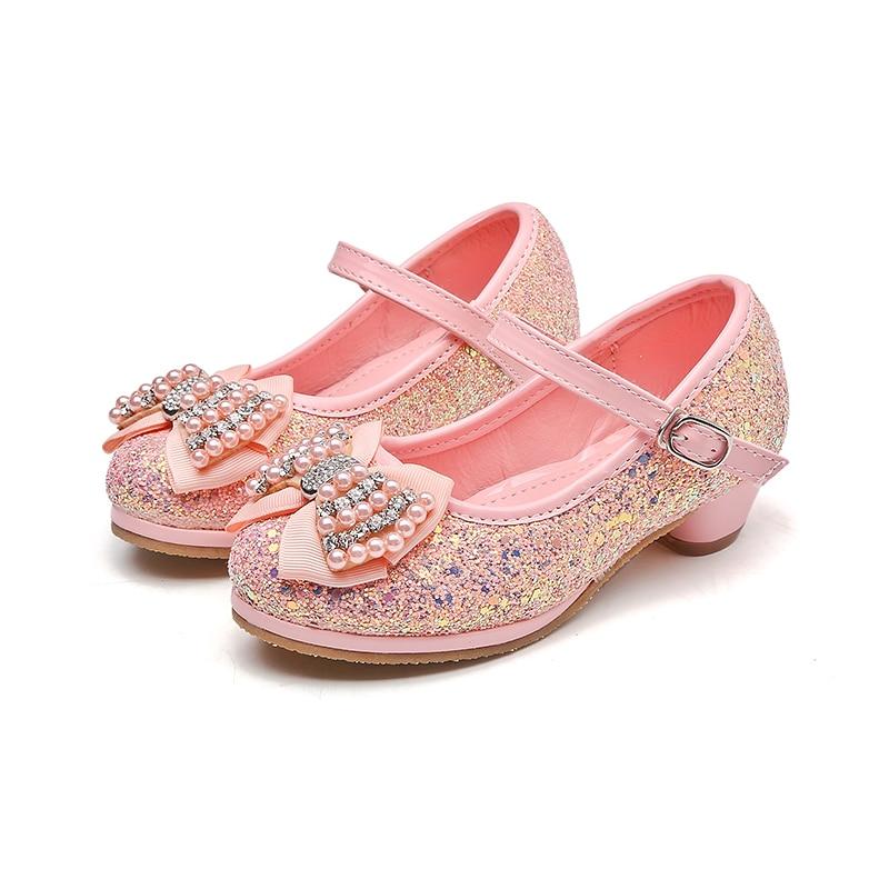e144e645b213 MSMAX Kids Glitter Bridesmaids Shoes Crystal High Heels Girl's Princess  Performance Shoes Mary Jane Sequins Dance Sandals