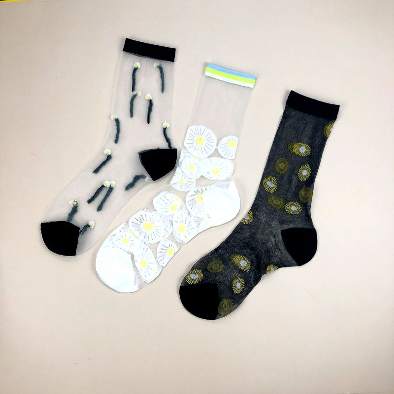 SP&CITY Summer Japanese Flower Transparent Short Socks Women Hollow Out Thin Harajuku Socks Cute Hipster Cool Girls Sox
