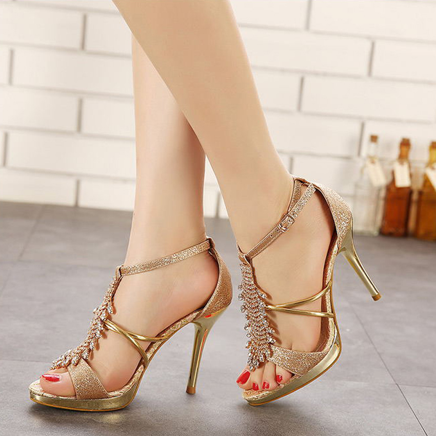 Fashion Nice Pop Summer Ladies Sexy Thin High Heels Sandals Ankle Strap Sandals Party  Women Shoes 82