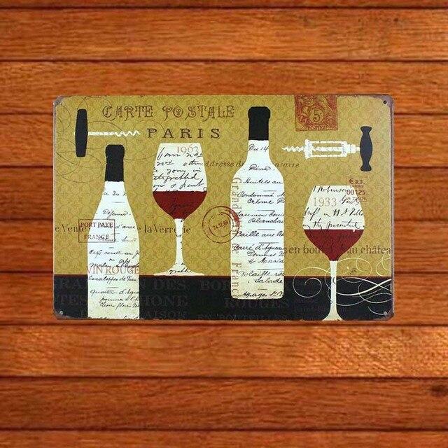 Paris Wine Glasses beer Bottle Tin Signs Vintage Beer Metal Retro ...