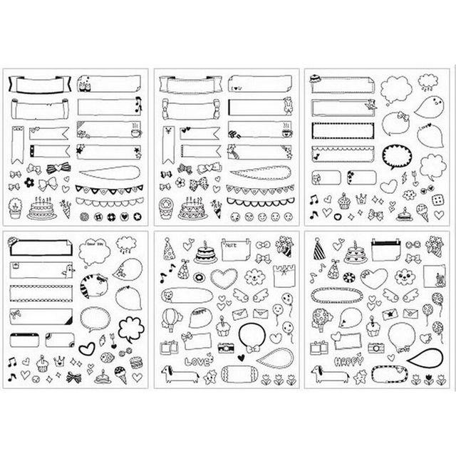 6 Arkusz DIY Kalendarza Papieru Fotograficznego Naklejki Naklejki Dla Dzieci Toy Prezent Czarny
