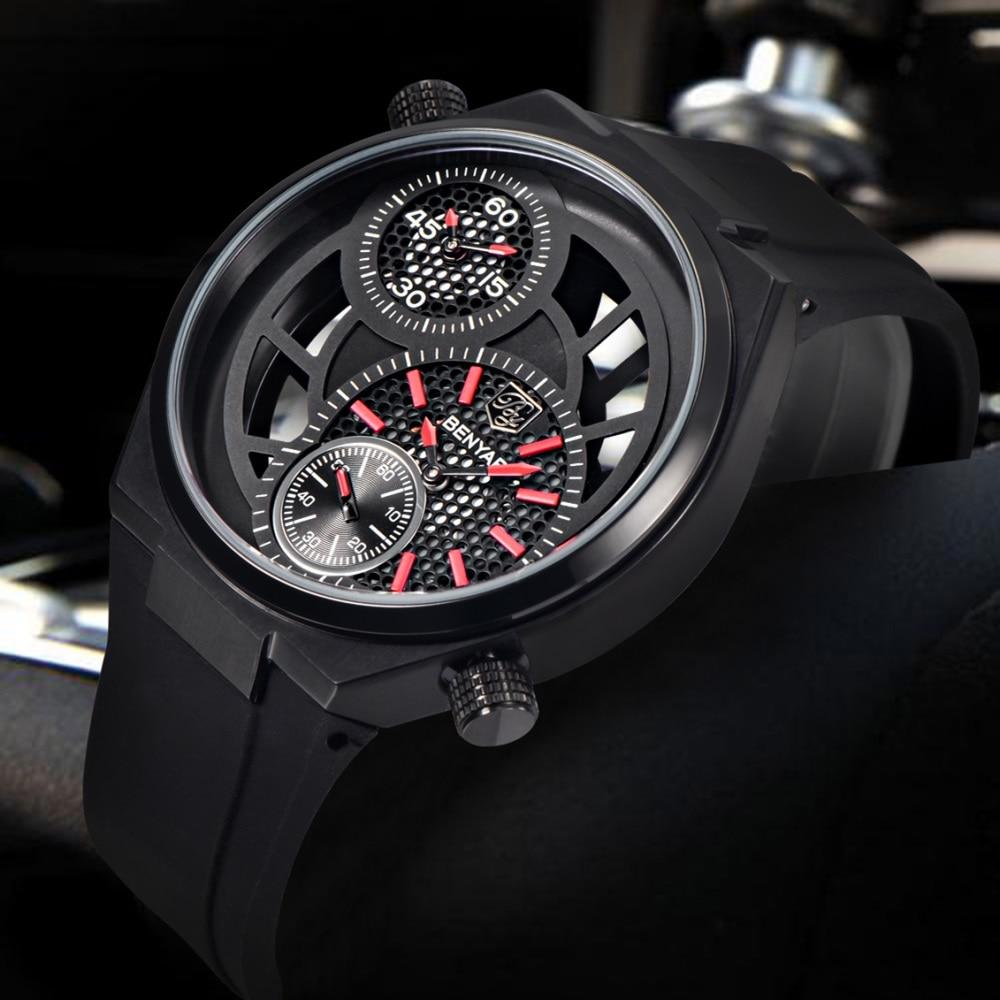 ФОТО Top Brand Luxury Mens Watches Hollow Sport Watch Men Black Big Dial Waterproof Fashion Quartz-Watch Male Clock Relogio Masculino