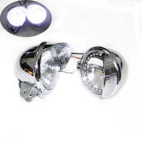 1Pair Chrome Motorcycle ABS LED Fog Lamp Passing Diving Spot Light Headlight For Harley Dyna Electra Glide
