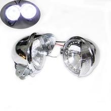 1Pair Chrome Motorcycle ABS LED Fog font b Lamp b font Passing Diving Spot Light Headlight