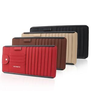 Image 2 - Tefanball автомобильный кожаный многофункциональный CD ящик для хранения автомобиля солнцезащитный козырек CD чехол для DVD Чехол для очков Папка Бизнес держатель для карт CD сумка