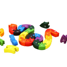 Kids Puzzle Toys Children Learning 26 English Alphanumeric Lovely Snake Shape Wooden Educational Toy