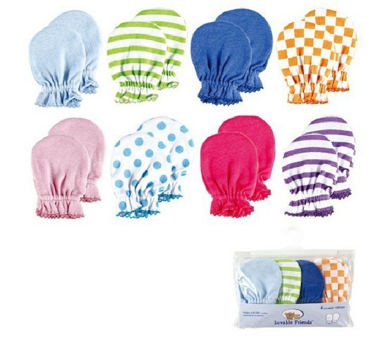 a72a06b6337 Luvable Friends 4 Pack newborn Mittens baby Scratch Mittens
