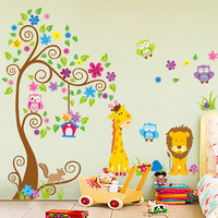 Free Shipping Owls Lion Zoo Giraffe Trees Hot Helling Wall Decal DIY Decoration Fashion Wall Sticker