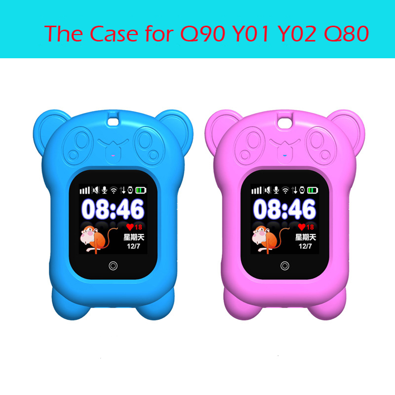 Portable Smart Watch Case for Q90 DF25 Q80 Q528 Silicon Case with Sling Cute Panda Anti-lost Watch Protect Case for Kids Baby