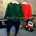 Высокое качество 2016 Ребенок Футболка Детская Одежда Сплошной цвет печати Теплый Пуловер Толщиной Baby Boy Девушки Одежда Футболка 33
