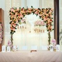 Романтические Розовые розы с зеленая трава свадебный цветок стены искусственный шелк цветок фон цветок арки Свадебные украшения