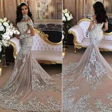 Роскошные Блестящие Свадебные платья 2019 сексуальные блестящие