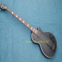 Factory Custom Matte Black 4 strings LP Electric Bass Guitar,Top quality Black hardware LP guitar Bass,Free shipping