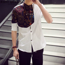 Traditional Chinese clothing for men vintage floral print mens white linen shirt traditional Chinese male clothing KK1004 HQ