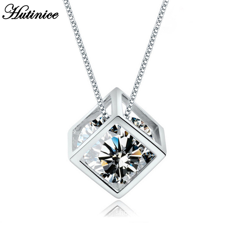 Custom Jewelry Silver Long Box Chains Cube Zircon Pendants Statement Chokers Necklaces For Women Bridesmaid Gift BFF Erkek Kolye