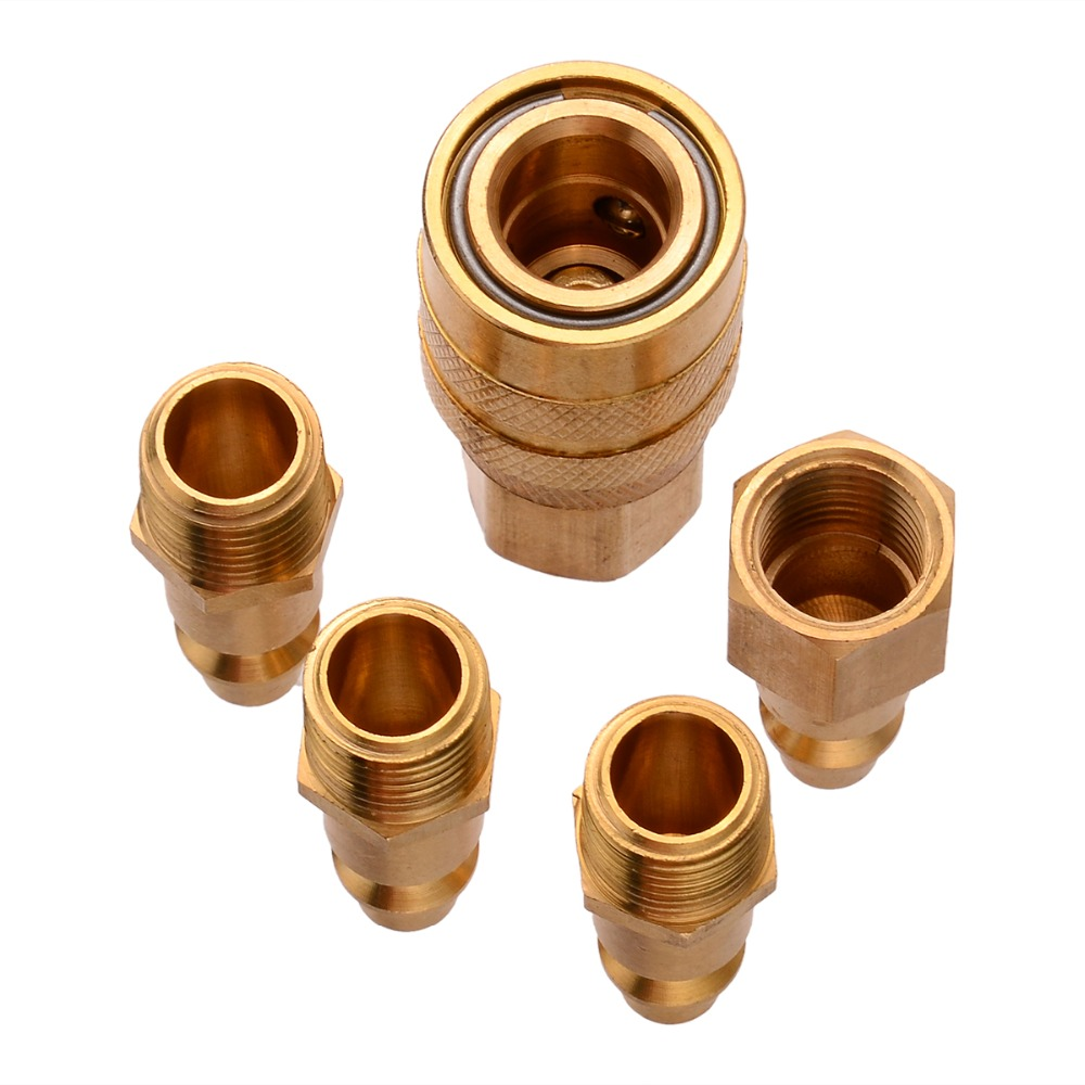 5pcs New Solid Brass Quick Coupler Set High Quality Air Hose Connector Fittings 1/4
