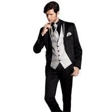 Slim Fits Black Groom Tuxedos Groomsman Men's Wedding Prom Suits Custom Made (Jacket+Pants+Vest+Tie)