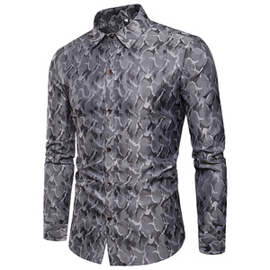 Image 2 - Purple Camouflage Shirt Men 2018 Brand New Smooth Silk Cotton Mens Dress Shirts Casual Slim Fit Long Sleeve Chemise Homme Camisa