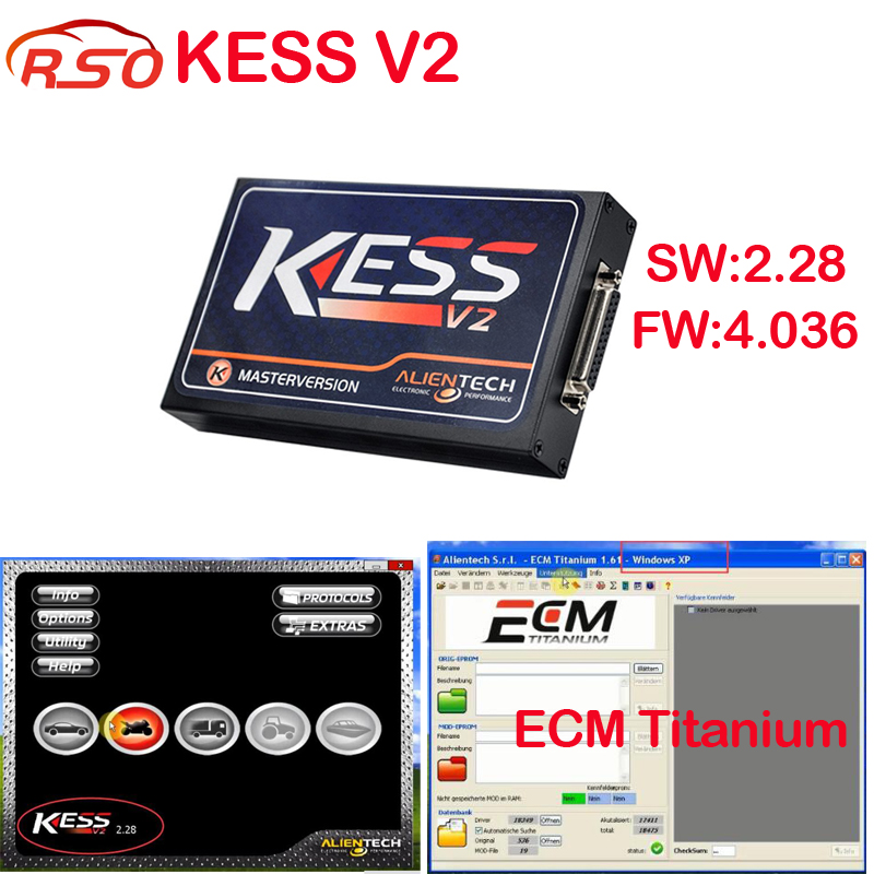 Newest version v2.32 kessv2 OBD2 Tuning Kit KESS V2 ECU Chip Tuning tool + free ECM Titanium software ECU Programmer FREE ship new version v2 13 ktag k tag firmware v6 070 ecu programming tool with unlimited token scanner for car diagnosis