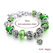 Szelam 925 Silver Heart Bracelet Green Crystal Charms Snake Chain Bracelets & Bangles Pulseira DIY Jewelry SBR160032
