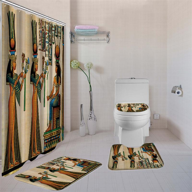Image 5 - 4 Pcs African American Women Shower Curtain Bath Rug Sets Toilet Cover Bath Mat Set Bathroom Accessories Curtains With Hooks-in Shower Curtains from Home & Garden