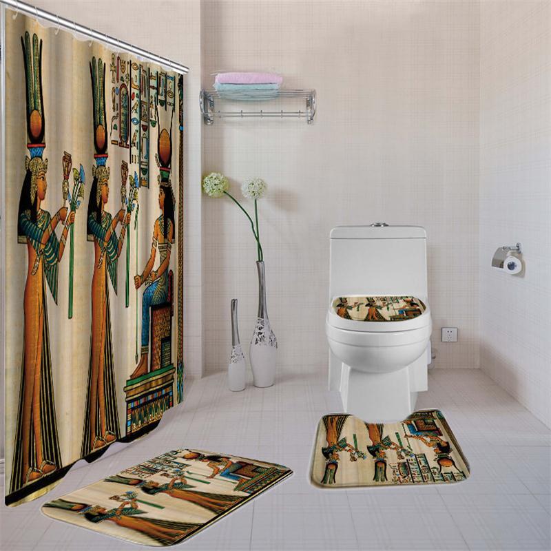 Ägyptischen Dusche Vorhang Set Afrikanische Dusche Vorhänge für Badezimmer Polyester Nicht Slip Wc Abdeckung Dusche Vorhang 180*180CM-in Duschvorhänge aus Heim und Garten bei Dafield Store